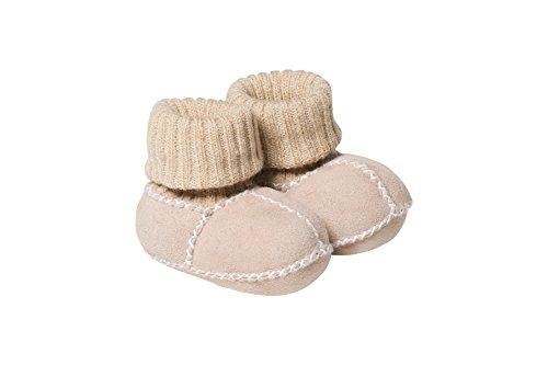 Fellhof 6623 Baby Patscherl Balu aus Lammfell, Größe 20, Strickbund aus Baumwolle, handgefertigte Ziernähte (grau)