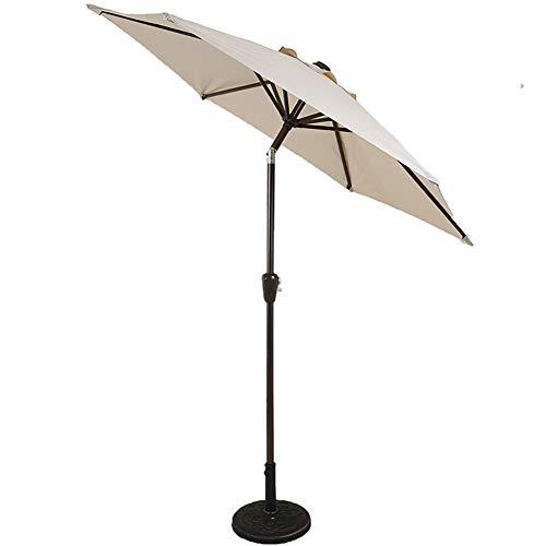 ZJM-umbrella Parasols Parasol de Patio avec Bouton-Poussoir Inclinable, Parapluie de Table de Marché Couverture de Protection UV, avec 8 Côtes Robustes, Vert/Beige/Bleu (Color : Beige)