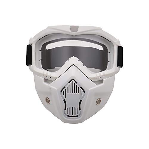 CGZZ Equitación Gafas Máscaras, Facial Antivaho Resistente a Los Rayos UV Protector De Ojos para Esquí, Senderismo y Ciclismo,White+Clear