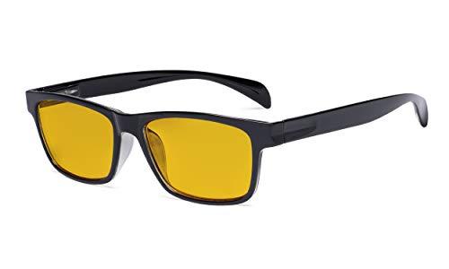 Eyekepper Blaulicht-Schutzbrille mit bernsteinfarbener Filtergläser - Computer Leser-Brillen Damen Herren - Schwarz transparent +1.75