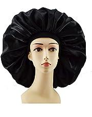 Taloit Plus Size Satijnen Zijdeachtige Bonnet Slaap-Night Cap Waterdicht Hoofddeksel Bonnet Hoed voor Curly Springy Hair Shower Caps