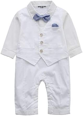 HMD Baby Boy Long Sleeve Gentleman White Shirt Waistcoat Bowtie Tuxedo Onesie Jumpsuit Overall product image