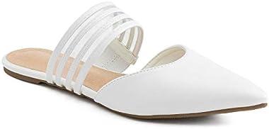RF ROOM OF FASHION Pointy Toe Mary Jane Backless Slip On Slides Mule Flats
