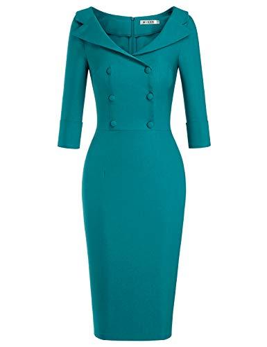 MUXXN Women's Elegant Peter Pan Collar Slim Waist Working Office Pencil Dress with Button (Harbor Blue S)
