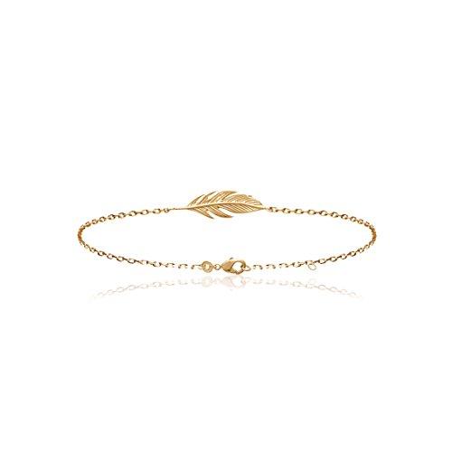 Smeraldo Vergoldetes Damen Armband Feder | Armkette mit Feder Motiv | 18kt Gelbgold vergoldet
