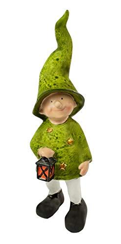 Dekofiguren Wichtel grün mit Laterne