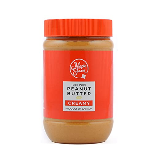 MapleFarm - Erdnussbutter Natürliche Ohne Zusätze. 500g - Erdnussmus Ohne Salz, Zucker, Palmfett - chunky flavour - protein creme - powdered peanut butter - PURE PEANUT BUTTER - SMOOTH (CREAMY)