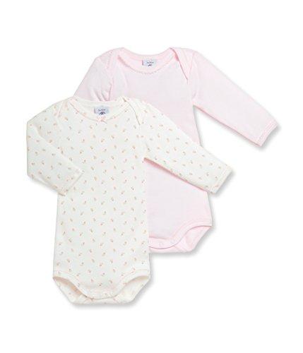 Petit Bateau - Body - Col rond - Manches longues - Lot de 2 - Bébé Fille - Rose - FR : 3 ans (Taille fabricant : 36 mois)