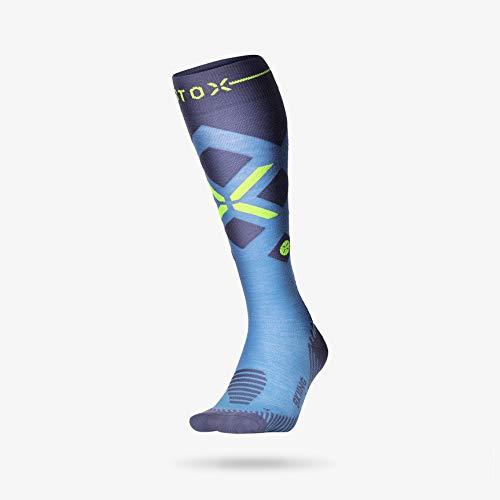 STOX Skiing Socks mit High-Tech Kompression Technologie - Skisocken für Herren - Skistrümpfe mit Merinowolle - Keine kalten Füße - Keine Krämpfe - Kniestrümpfe zum Skifahren - Snowboard Socken -