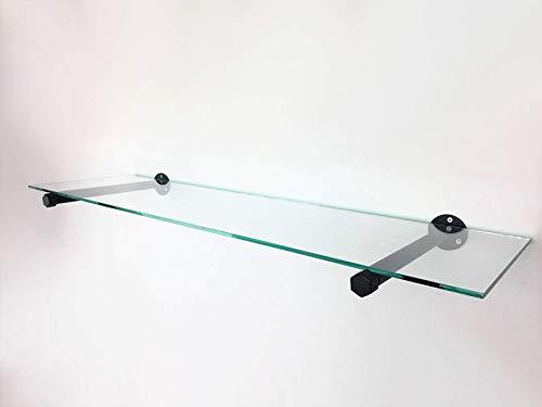 Wandregal Breite 100cm, Tiefe 35cm, Glas und Stahlrohr schwarz pulverbeschichtet, sehr stabil, Industrial Design