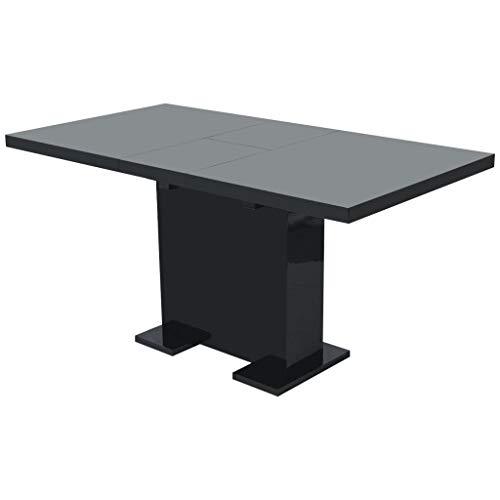 Eettafel uitschuifbaar hoogglans zwart