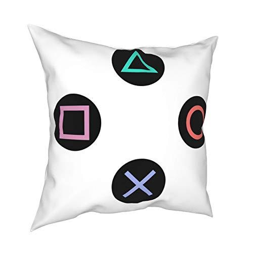 DearLord Juego con botones de mando Playstation, fundas de cojín cuadradas de doble cara, fundas de almohada para sofá dormitorio con cremallera invisible 45,7 x 45,7 cm