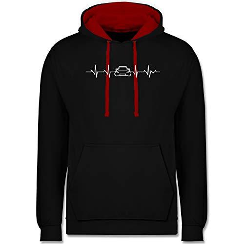 Shirtracer Autos - Herzschlag Auto - XL - Schwarz/Rot - Statement - JH003 - Hoodie zweifarbig und Kapuzenpullover für Herren und Damen