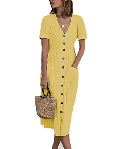 Hellomiko Mujeres Algodón Suelta Camisa Vintage Top Camisa Botones Delanteros completos Camisa Vestido con Bolsillos