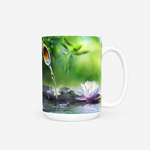 Japanese Mug,Funny Insulated Offee Mug for Women Men Gift for Lover,Best Friend,Dad,Brother,Boss or Boyfriend,Zen Garden Massage Stones Waterlily Spa Bamboo Nature Japanese,11 Oz
