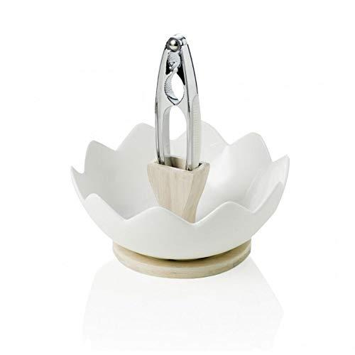 Brandani 54605 Zigozago Plat et écrou en bambou naturel en porcelaine avec Casse-noisette, Blanc