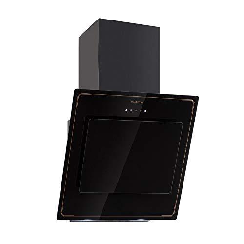 Klarstein DeLorean 60 Retro campana extractora - Campana del faro, 60 cm, Flujo de aire de escape: 625 m³/h, Operación táctil, Filtros con succión de borde, Recirculación o aire de escape, Negro