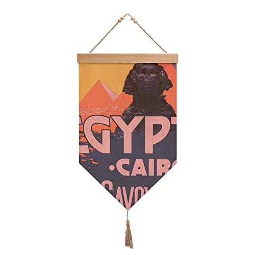 Baumwoll-Leinen-Hängende Flagge, Kairo, ägyptische Vintage-Reisewandbehang, dekorativer Wandteppich, personalisierte Quaste, Hängeflaggen für Wohnzimmer, Schlafzimmer, Dekoration