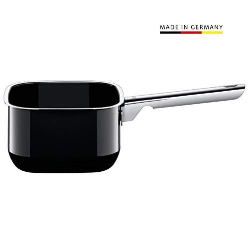 Silit Quadro Black Stielkasserolle, 16 cm quadratisch, ohne Deckel, Kochtopf 2,0l, Silargan Funktionskeramik, stapelbar, Topf Induktion, schwarz