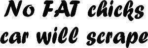 Online Design No Fat Chicks Voiture Will Scrape Auto Moto Décalcomanie Auto-Adhésive - Bleu