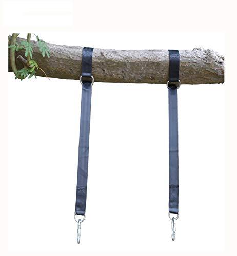 BBCare Kit d'accrochage pour balan?oire d'arbre, 2 sangles extra-longues de 120cm avec 2 mousquetons et crochets ¨¤ encliquetage w Porte ¨¤ vis de verrouillage