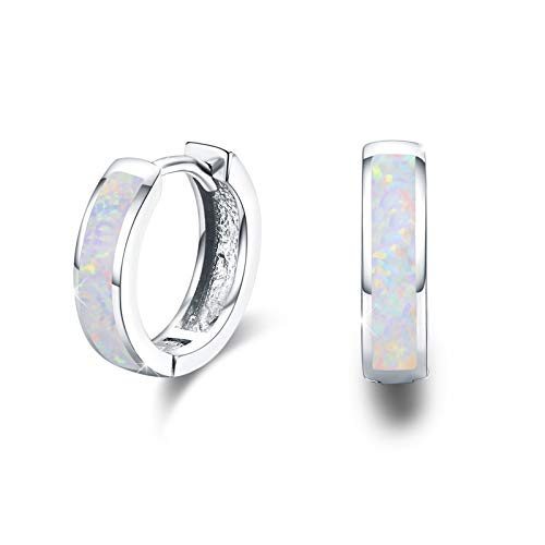 Huggie Earrings Small Hoop Earrings 925 Sterling Silver Fine Circle Hinged Hoop Cute Synthetic Opal Earrings Gifts for Girls Women