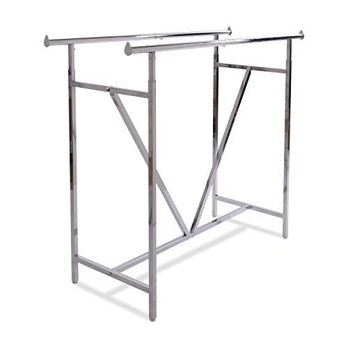 Econoco - Adjustable Heavy Duty Double Bar Retail Clothing Rack Rectangular Hangrail Rack wV-Brace