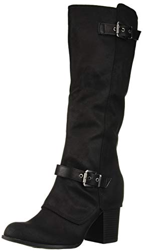 Fergalicious Women's Connor Knee High Boot, Black/Black Wide Calf, 5.5