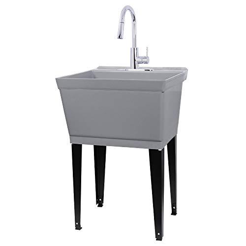 JS Jackson Supplies Waschtisch mit hohem Bogen, Chrom, ausziehbarer Wasserhahn, robuste Spülen mit Installationsset für Waschraum, Werkstatt, Keller, Garage, Slop Spüle, graue Wanne