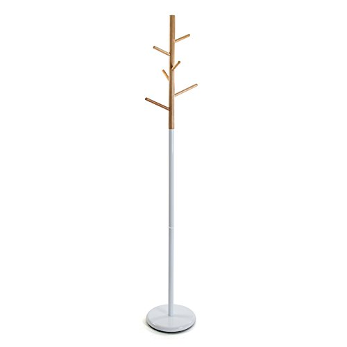 Versa 18790697 Perchero pie blanco - Metal y madera 171x28x28cm,...