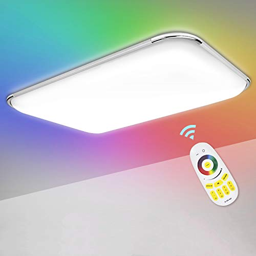 Hengda Lámpara de techo LED, 48 W, RGB, regulable, con mando a distancia, temperatura de color y brillo ajustables, lámpara de salón para baño, dormitorio, cocina, habitación infantil, IP44