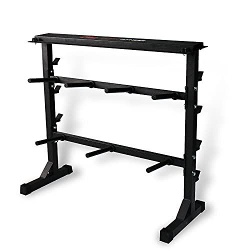 CCLIFE Soporte para Barras de Pesas bastidores de Peso Estante de Barra con Pesas una Carga máxima de Aprox. 400 kg, Color:Negro