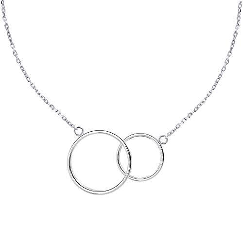 Joyas Les Poulettes - Collar Dos Círculos de Plata de Ley