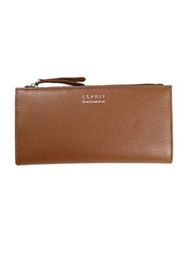 Esprit Damen Geldbörse Portemonnaies Classic Sidezip Leder Braun 118EA1V025-220