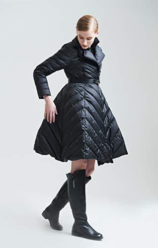 Jejhmy Hochwertige Winter Damen Daunenjacke hochwertige europäische Mode Rock Stil Lange Ente daunenmantel m schwarz