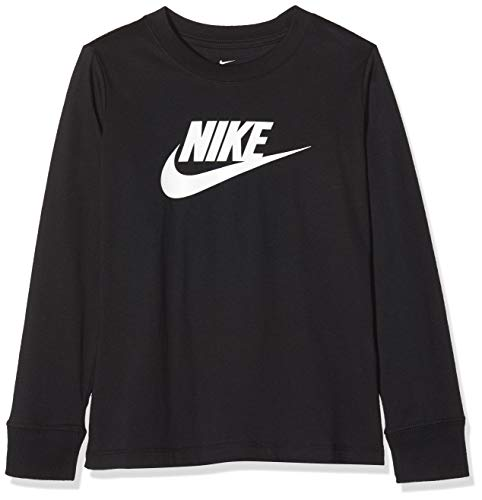 Nike G NSW tee LS Essnt Futura Hook Sudadera, Niñas, Negro (Black), XS