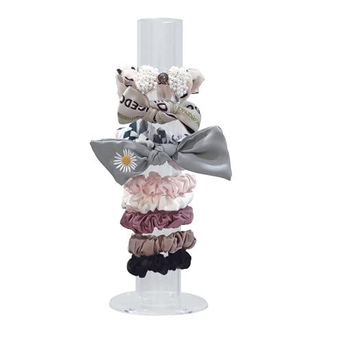 Acrylic Scrunchie Holder Stand, Jieey Fairy Decor Clear Organizer, T-Bar Stand, Girls Bracelet Display Rack, for Storage Hair Elastics, Hair Bands, Jewelry, Ideal Teen Girls Women Gifts