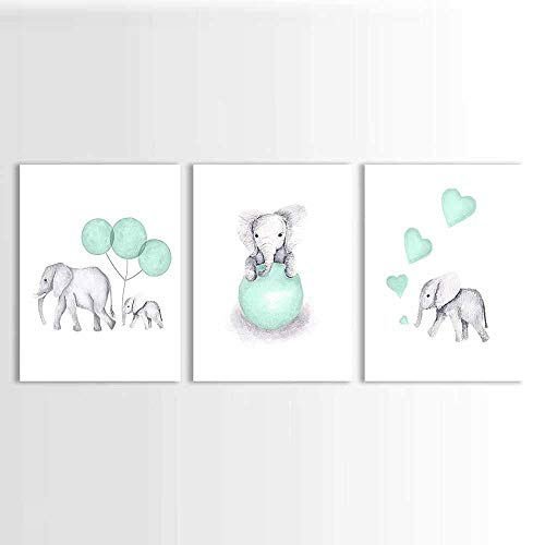 zszy olifant kinderkamer prints schilderij afbeelding canvas dieren mintgroen ballon poster foto's wooncultuur voor kinderen baby kamer 40x60cmx3 stuks geen lijst