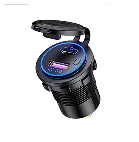 XIAOQIN BOMY Ajustar para 12V USB Cargador de automóviles USB Auto Cargo por teléfono QC3.0 5V 3A Carga rápida PD Puerto de PD Cigarette Encendedor Impermeable 12-24V Carga ACCESORII
