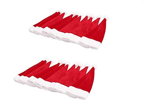 Jiahanle 20 Pezzi Portaposate Natalizie, Mini Cappello Natalizio, Set Portaposate Natalizie da Babbo Natale Tasche Posate per Forchetta Cucchiaio Decorazione della Tavolo di Natale