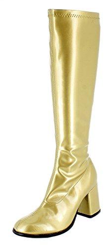 Das Kostümland Gogo Damen Retro Lackstiefel - Gold Gr. 43 - Tolle Schuhe zur 70er 80er Jahre Disco Hippie Mottoparty