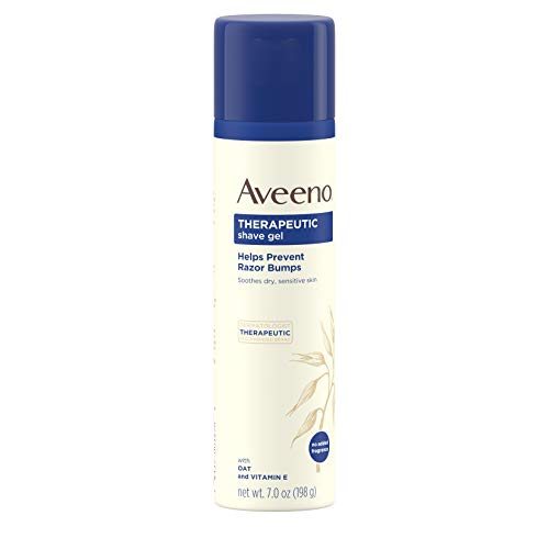Aveeno Therapeutic Shave Gel with Oat and Vitamin E to Help Prevent Razor Bumps and Soothe Dry and Sensitive Skin, No Added Fragrances and Non-Comedogenic, 7 Ounce