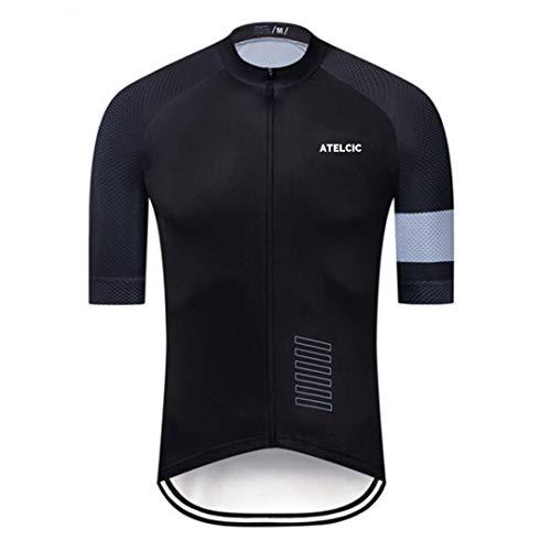 Atelcic Maillot para Ciclismo MTB Spinning Ciclismo de Carretera, Traje de Ciclismo Manga Corta Verano para Hombre y Mujer (Negro - Gris, M)