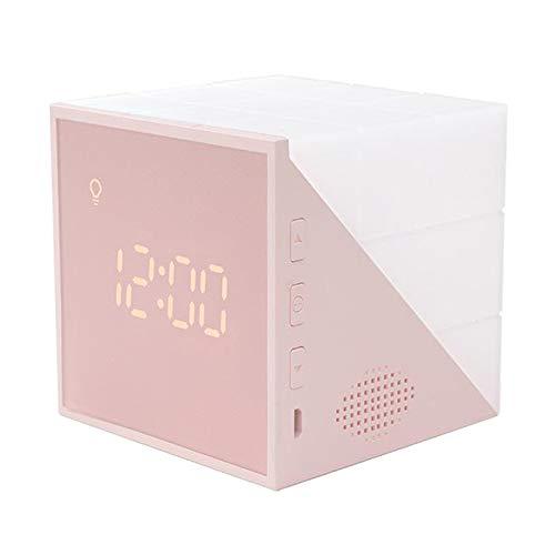 Fenteer Reloj Despertador para niños, 7 Colores LED Noche Cubo Brillante LCD Reloj con luz niños Despertador Digital para Dormitorio Adulto - Rosa