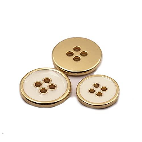 Botones de metal para coser y chaquetas, botones grandes, resistentes y duraderos, 30 unidades, color blanco