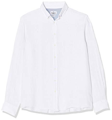 Hackett London Garment Dye LN BS Camisa de Oficina, Blanco (802optic White 802), L para Hombre