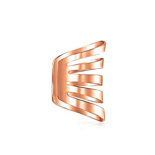 Minimalist Geometric Sliced Split Band Cartilage Ear Cuffs Clip Wrap Helix Earring Rose Gold Plated Sterling Silver