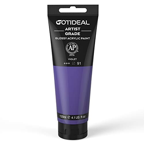 GOTIDEAL Acrylic Paint Violet Tubes(120ml, 4.1 oz) Non Toxic Non Fading,Rich Pigments for Painters, Adults & Kids, Ideal for Canvas Wood Clay Fabric Ceramic Craft Supplies (Violet)