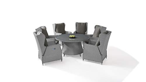 talfa Polyrattan Gartenmöbel Dining Set in Grau satiniert - Chesta 6, rund