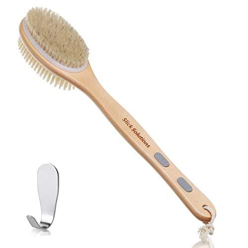 Slick- Shower Brush, Double Sided Brush, Back Scrubber, Bath Brush, Back Brush, Back Brush Long Handle for Shower, Shower Brushes for Your Back, Bath Brush Long Handle for Shower, Shower Back Scrubber